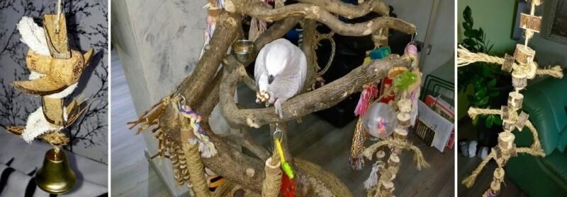 как делать игрушку для попугая жако, какаду, амазона, ара, волнистого попугая, кореллы, ожерелового