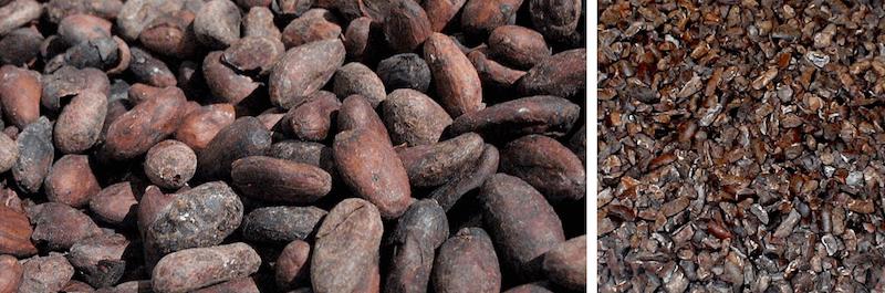 Какао-бобы и крупка для кормления попугаев.