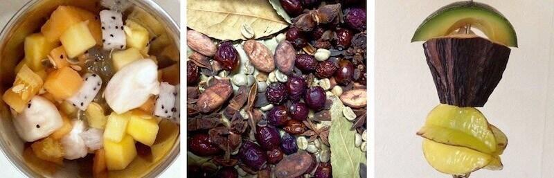 Свежие како-бобы в кормушке у попугаев. Сухие какао-бобы в составе сухой кормушки-копошилки, фуражилка из авокадо, плода какао и карамболы