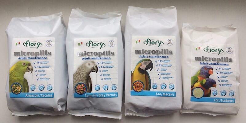 гранулированные корма fiory micropills для попугаев